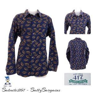 XL VTG Chamois Mens Shirt Flannel Fall Leaf Print